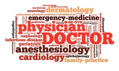 Word cloud of doctor specialities