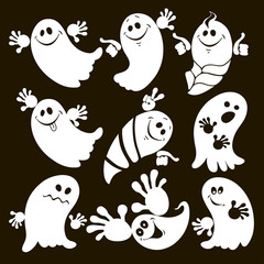 Set of halloween ghosts . Isolated vector illustration on black