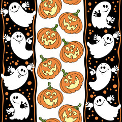 Halloween seamless background with ghosts and pumpkins.