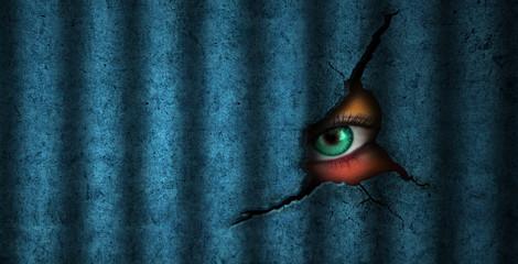 Surveillance prisoner green eye looking peeping wacthing