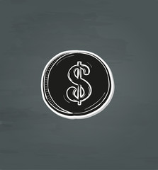 black coin with dollar symbol