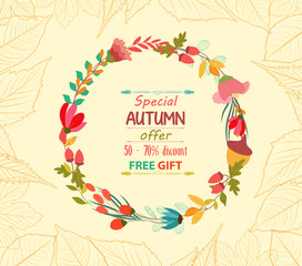 Autumn sale leaves background retro