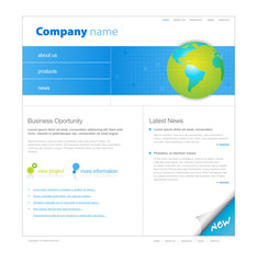 Website template with globe.