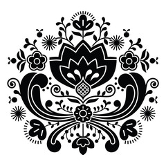 Norwegian folk art Bunad black pattern - Rosemaling style