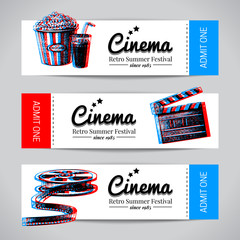 Set of movie banners. Cinema festival tickets