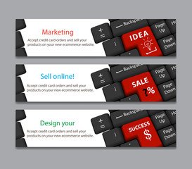 keyboard for idea, sale, success banner