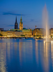 Downtown Hamburg with the Binnenalster lake at dawn