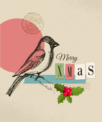 Christmas vintage greeting card, retro air mail concept