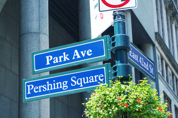 Park Avenue Pershing Square street signs in New York