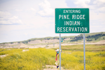 Entering Pine Ridge Indian Reservation Road Sign