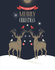 Christmas vintage greeting card, retro concept with deers