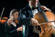 Symphony orchestra performance: celloist close-up