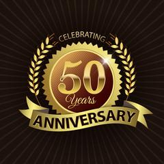 Celebrating 50 Years Anniversary - Laurel Wreath Seal & Ribbon