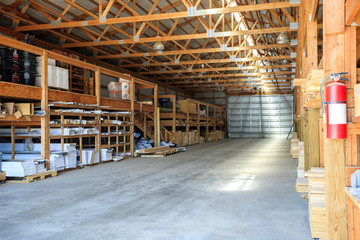 Building materials stored in warehouse