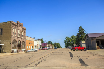 Main road in regular town of central states, Iowa.