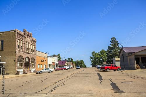 Leinwandbild Motiv Main road in regular town of central states, Iowa.