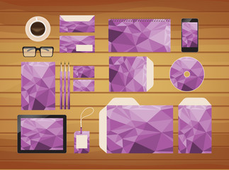 geometric purple brand identity business style retro