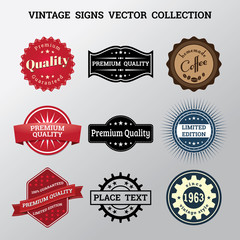 Collection of vector vintage signs and logos