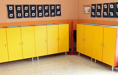 children's lockers in the locker room of the nursery