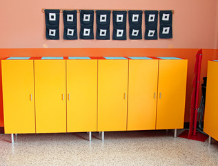 children's lockers in the locker room of the nursery