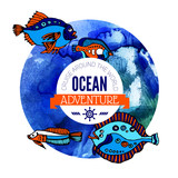 Ocean adventure background. Sea nautical design.