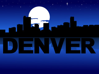 Denver skyline reflected with text and moon illustration