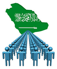 Lines of people with Saudi Arabia map flag illustration