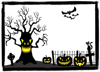 gruseliger Baum auf einem Friedhof an Halloween