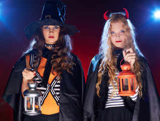 Witches with lanterns