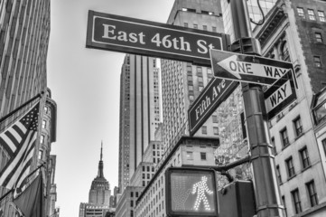 Fifth Avenue street signs and buildings