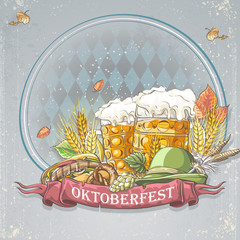 festive Oktoberfest with glasses of beer, a bagel, a cap, hops