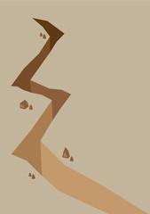 Depp Huge Crack in Land Vector Illustration