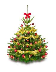 Gold und rot geschmückter Tannenbaum mit Girlanden