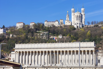 view of Lyon with cathedrale and courthouse