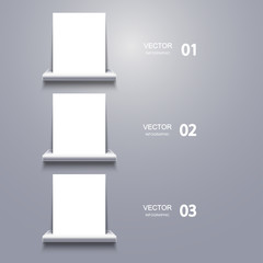 vector white blank on shelf. Infographic