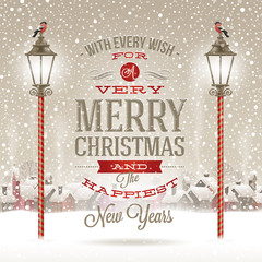 Christmas type design with street lantern and winter village