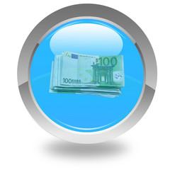 liasse de billets de 100 euros sur bouton