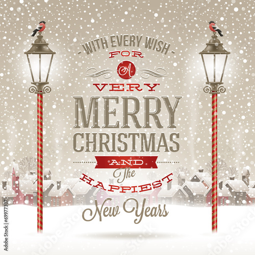 Christmas type design with street lantern and winter village - 69977307