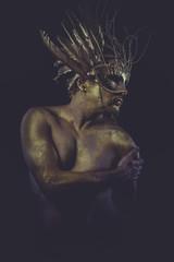 guy, golden bodypaint, man with gold helmet, ancient warrior dei