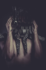 knife, Man with helmet made of forks and knives, concept