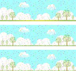 紙吹雪と自然の風景