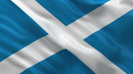 Flag of Scotland gently waving in the wind - seamless loop