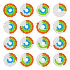 Set of Circular Colored Progress Diagram. Vector
