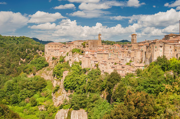 Wonderful view of Sorano, Italy