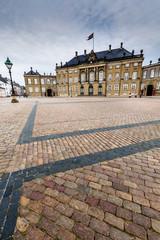 Castle Amalienborg with statue of Frederick V,Copenhagen,Denmark