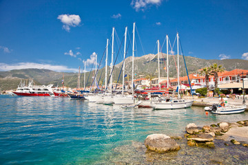 Nydri harbour at Lefkada island, Greece.