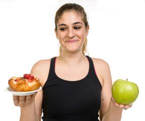 Ragazza in forma: dolce o mela?