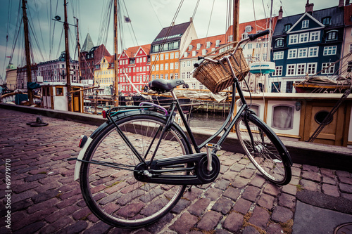 Bicycle Classic vintage retro city bicycle in Copenhagen, Denmark