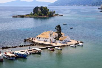 Beautiful view of the Vlacherna monastery on Corfu