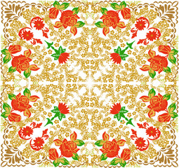 gold decorated square with red roses